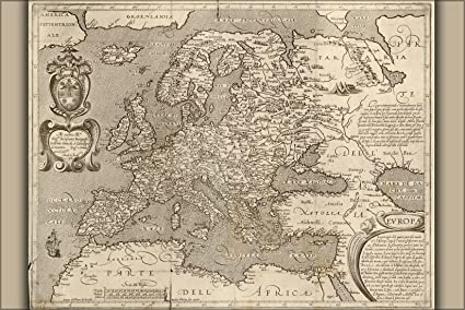 Map Of England 1600.Amazon Com 24x36 Poster 1600 Map Of Europe England Germany