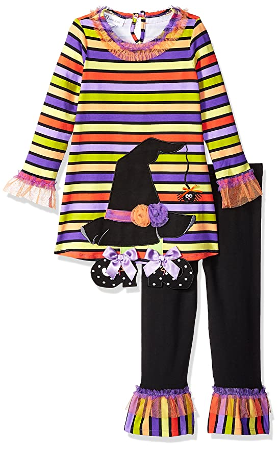 Bonnie Jean Girls' Little Holiday Dress and Legging Set, Striped Witch Heat, 6