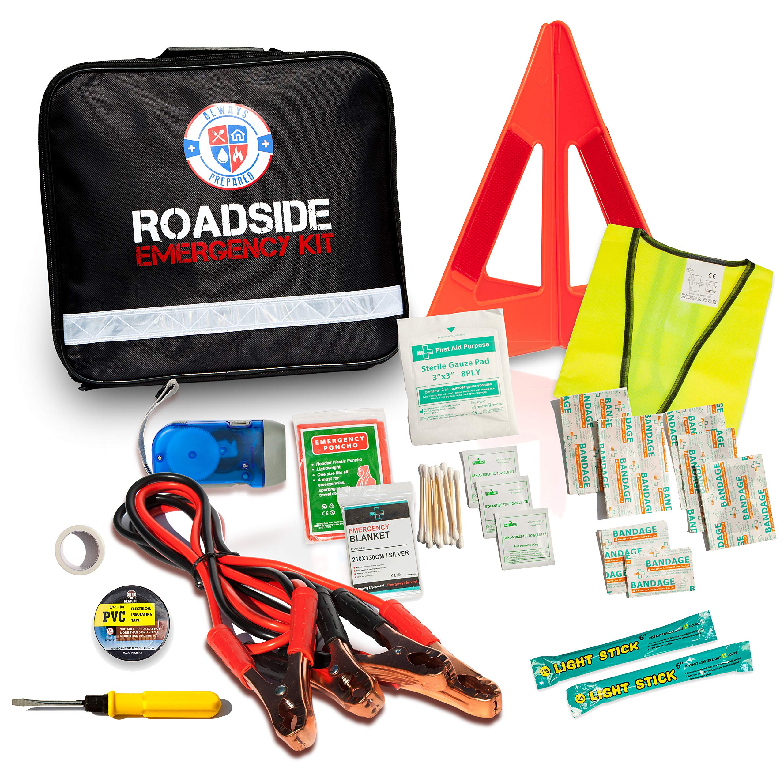 62 Piece Safety Roadside Assistance Kit - All-in-One Car First Aid Emergency Kit - Roadside Assistance Auto Emergency Kit - Premium Car Kits Emergency - Perfect New Car Gift