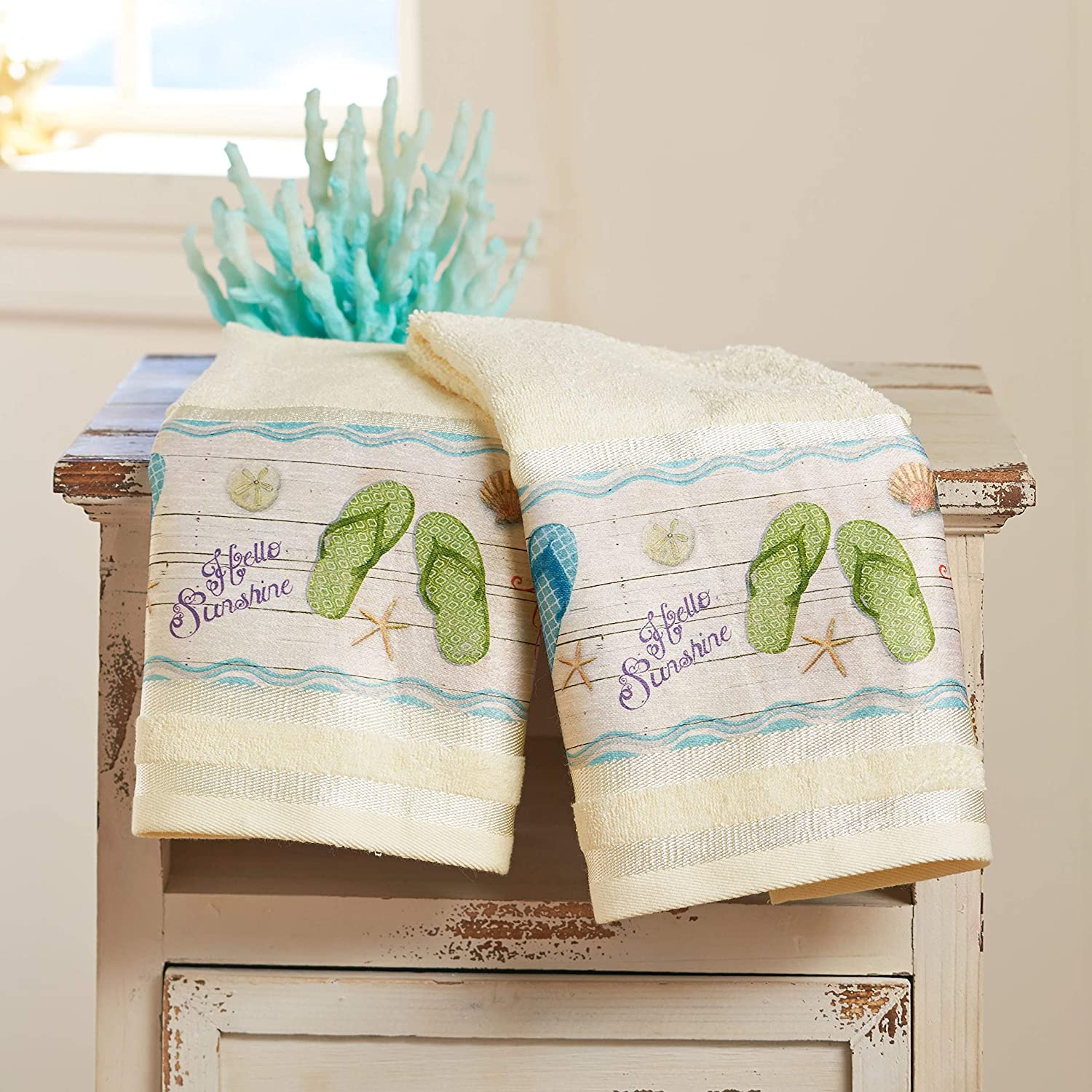 The Lakeside Collection Flip-Flop Hand Towels - Tropical Island Bathroom Décor - Set of 2