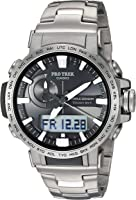 Casio Men's Pro Trek Quartz Sport Watch with Titanium Strap, Silver, 22 (Model: PRW60T-7ACR)