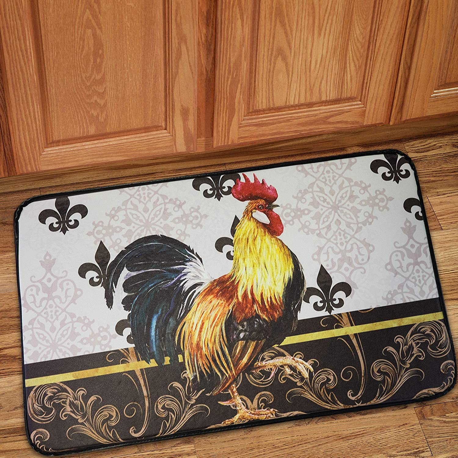 """Amazon.com: Sweet Home Collection Memory Foam Anti Fatigue Chef Design Kitchen Floor Mat Rug, Rooster, 30"""" x 18"""": Kitchen & Dining"""