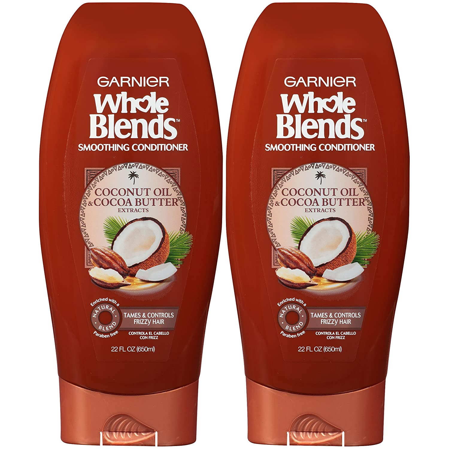 Garnier Whole Blends Smoothing Conditioner for Frizzy HAir with Coconut Oil, 22 Ounce Bottle, 2 Count