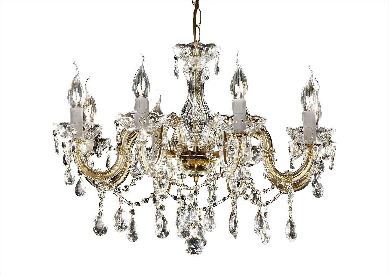 Venezianischer Kronleuchter 8-armig Ø60cm messing (goldfarben) jetzt statt EUR 299, 00 Crystal Lights by INNDESIGN mt8me