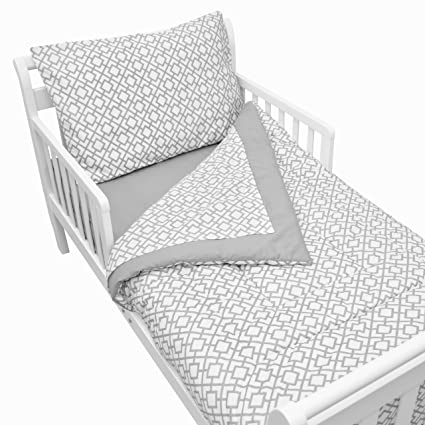 American Baby Company 100% Cotton Percale 4-piece Toddler Bedding Set, Gray Lattice