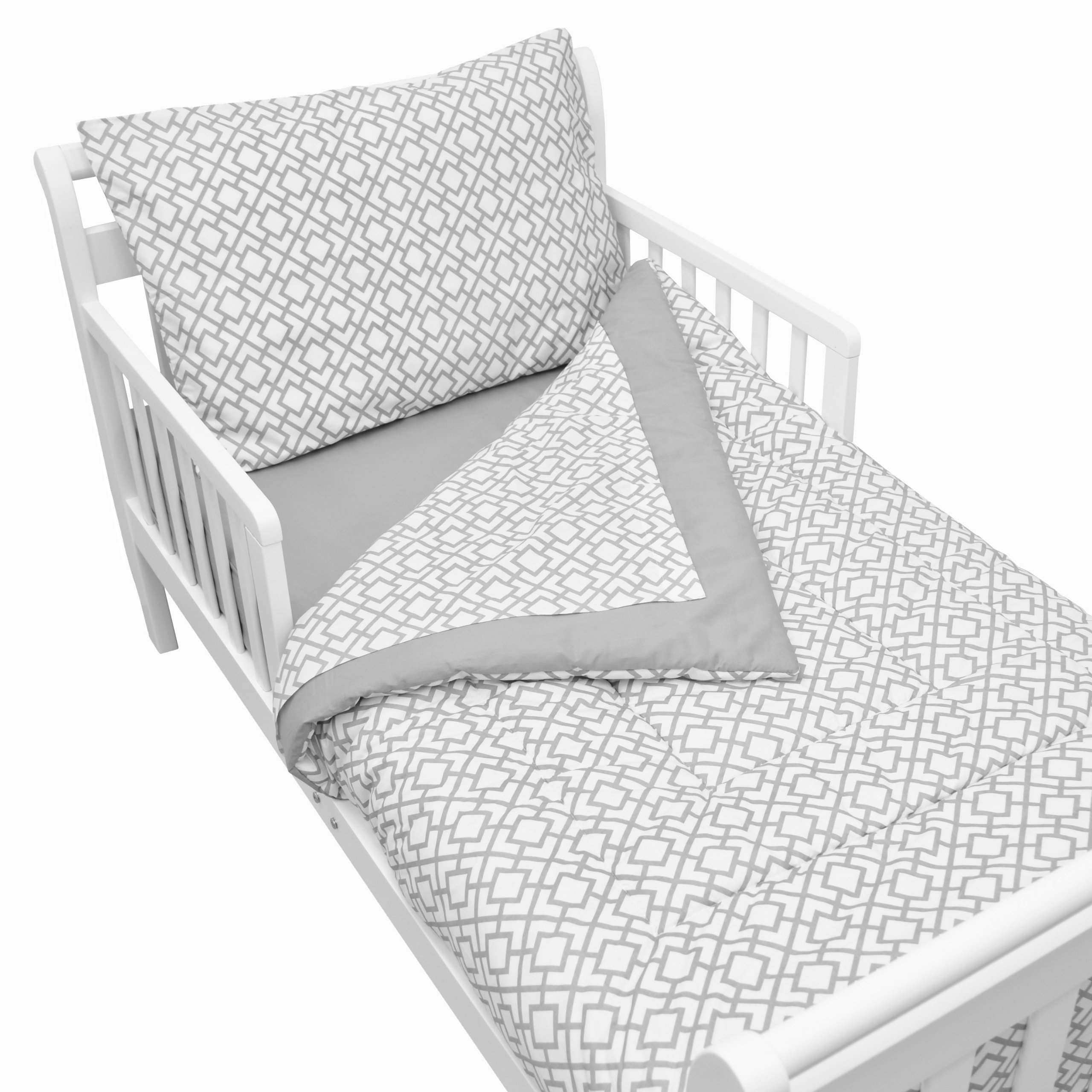 American Baby Company 100% Cotton Percale 4-piece Toddler Bedding Set, Gray Lattice