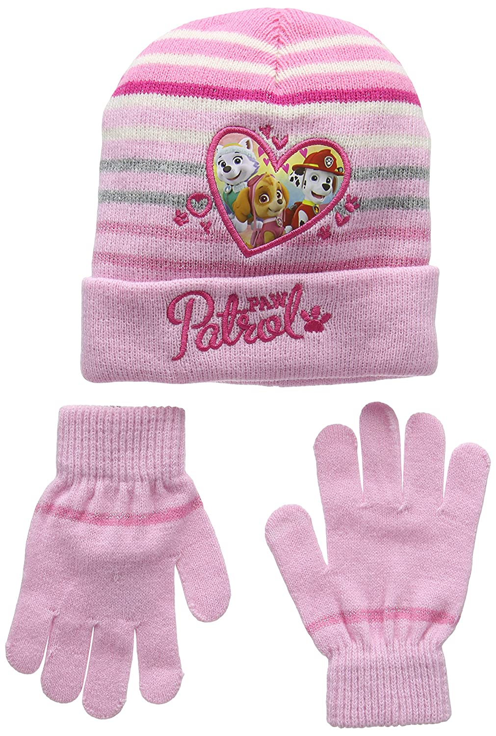 Nickelodeon Girl's Paw Patrol Heart Shape Scarf, Hat and Glove Set