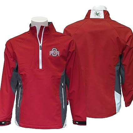 info for 3b383 666b3 J. America NCAA Men s Red Colorblocked 1 4 Zip Jacket Ohio State Buckeyes (