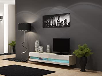 High Gloss Living Room Set With LED Lights | TV Stand | Wall Mounted Cabinet    Part 44