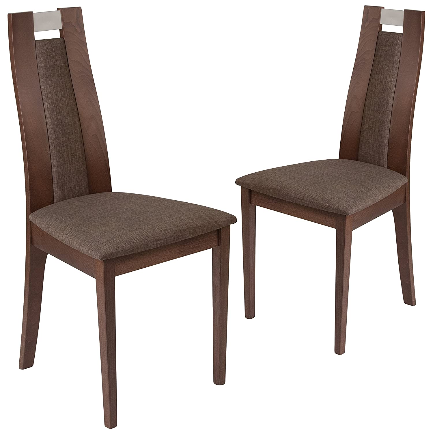 Amazon com flash furniture 2 pk quincy walnut finish wood dining chair with curved slat wood and golden honey brown fabric seat chairs