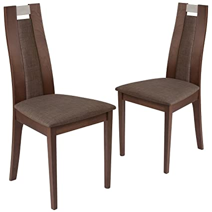 Flash Furniture 2 Pk Quincy Walnut Finish Wood Dining Chair With Curved Slat Wood And Golden Honey Brown Fabric Seat