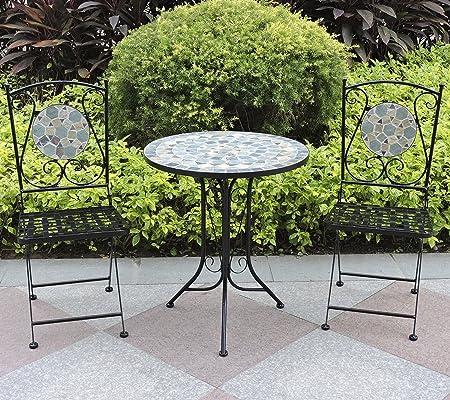 Garten Tisch oval Bank für 3 Personen und 2 klapstühle