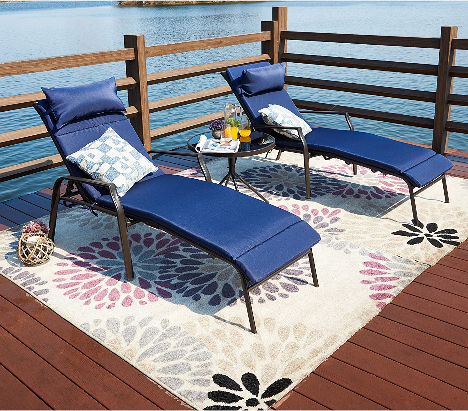 - LOKATSE HOME 3 Pieces Outdoor Patio Chaise Lounges Chairs Set
