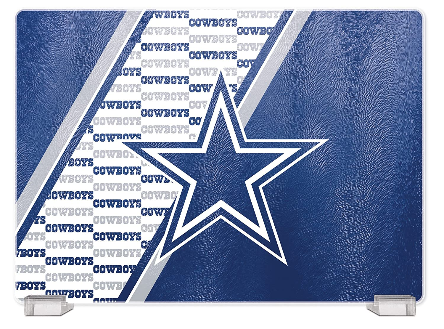 NFL Dallas Cowboys Tempered Glass Cutting Board with Display Stand