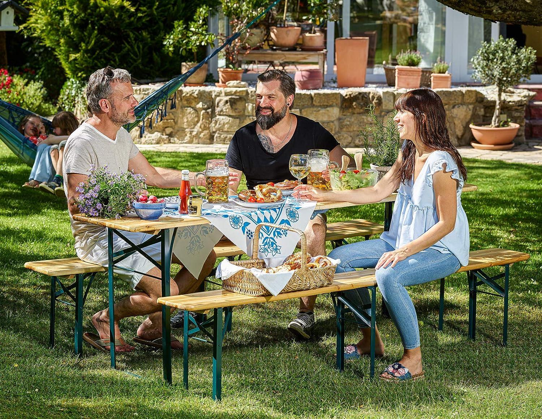 Deuba Conjunto de 1 mesa y 2 bancos 220cm mesa cervecera plegable en la mitad fácil de transportar set de muebles jardín