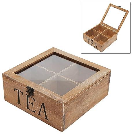 MyGift Rustic Wood Tea Bag Storage Chest, Glass Top Lid Multipurpose  Organization Display Box,