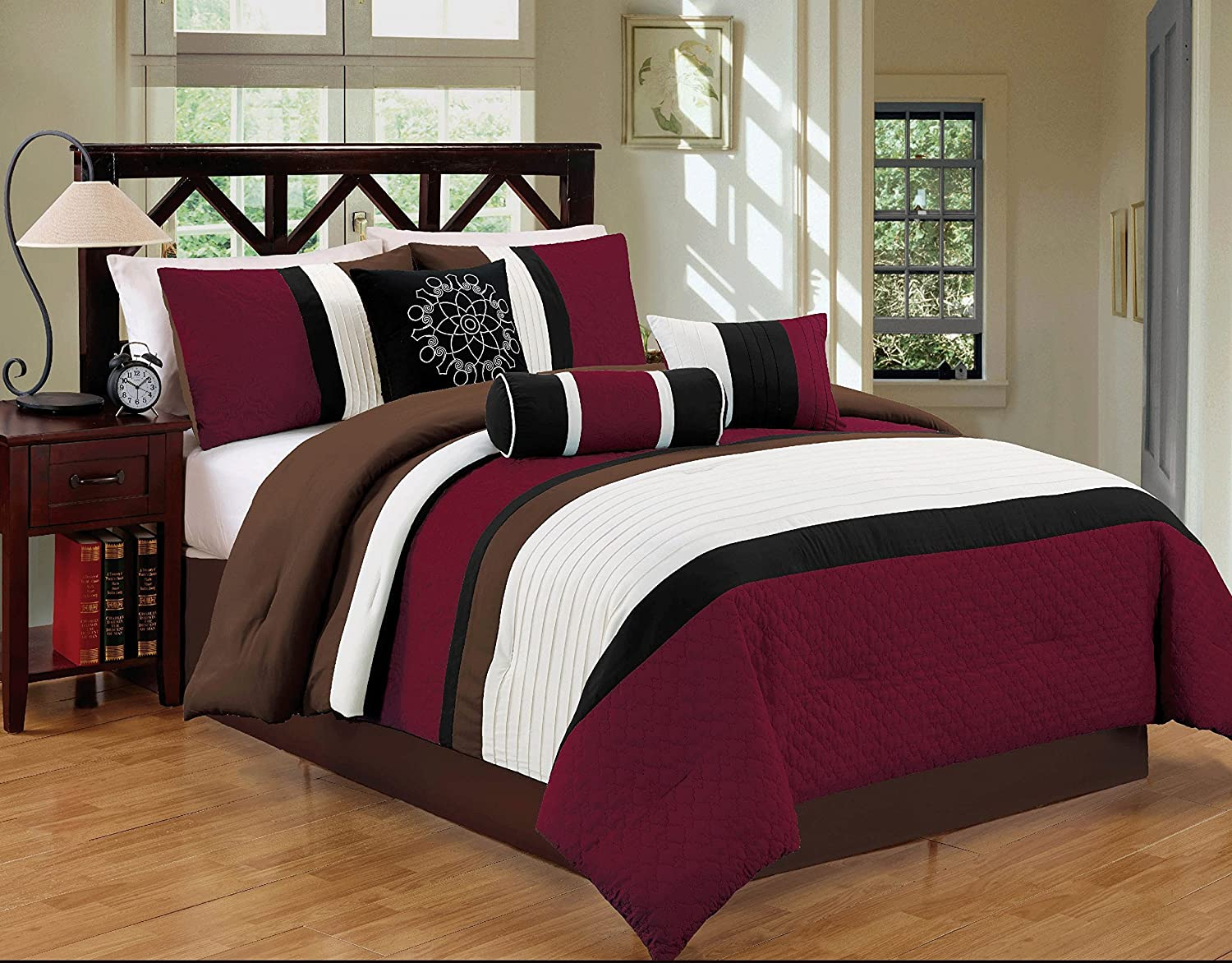 Dovedote 7 Piece Gorman Hills Stripe Comforter Set, King, Burgundy/Chocolate