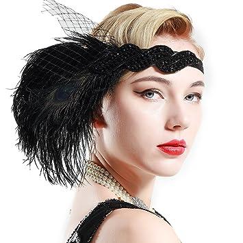 Schwarz /& Silber Straußen-feder Kopfbedeckung Große Gatsby Flapper Stirnband