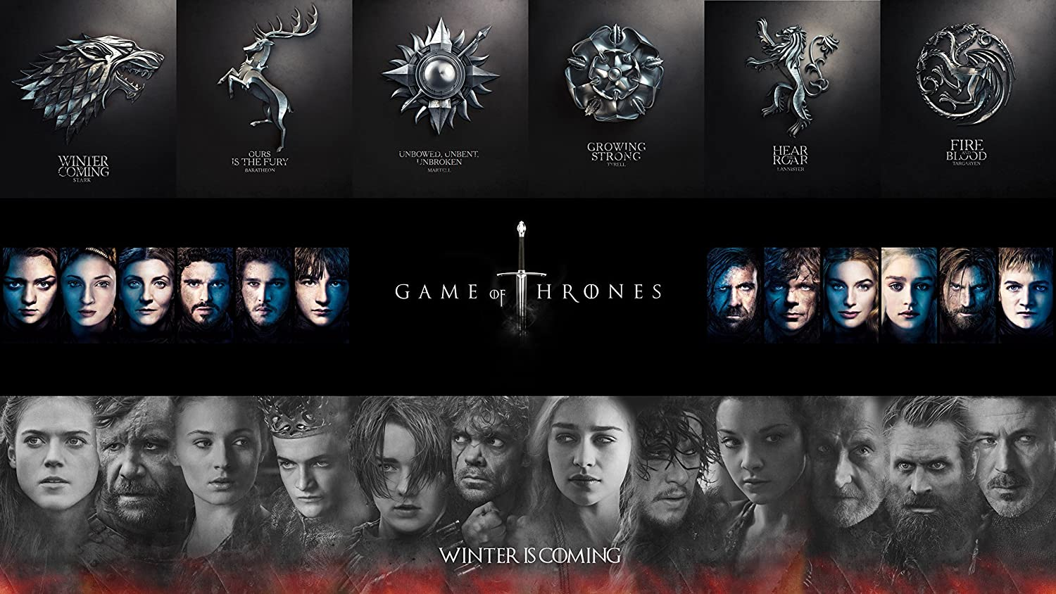 """28"""" x 16"""" Game of Thrones Poster Character Poster with GoT Houses"""