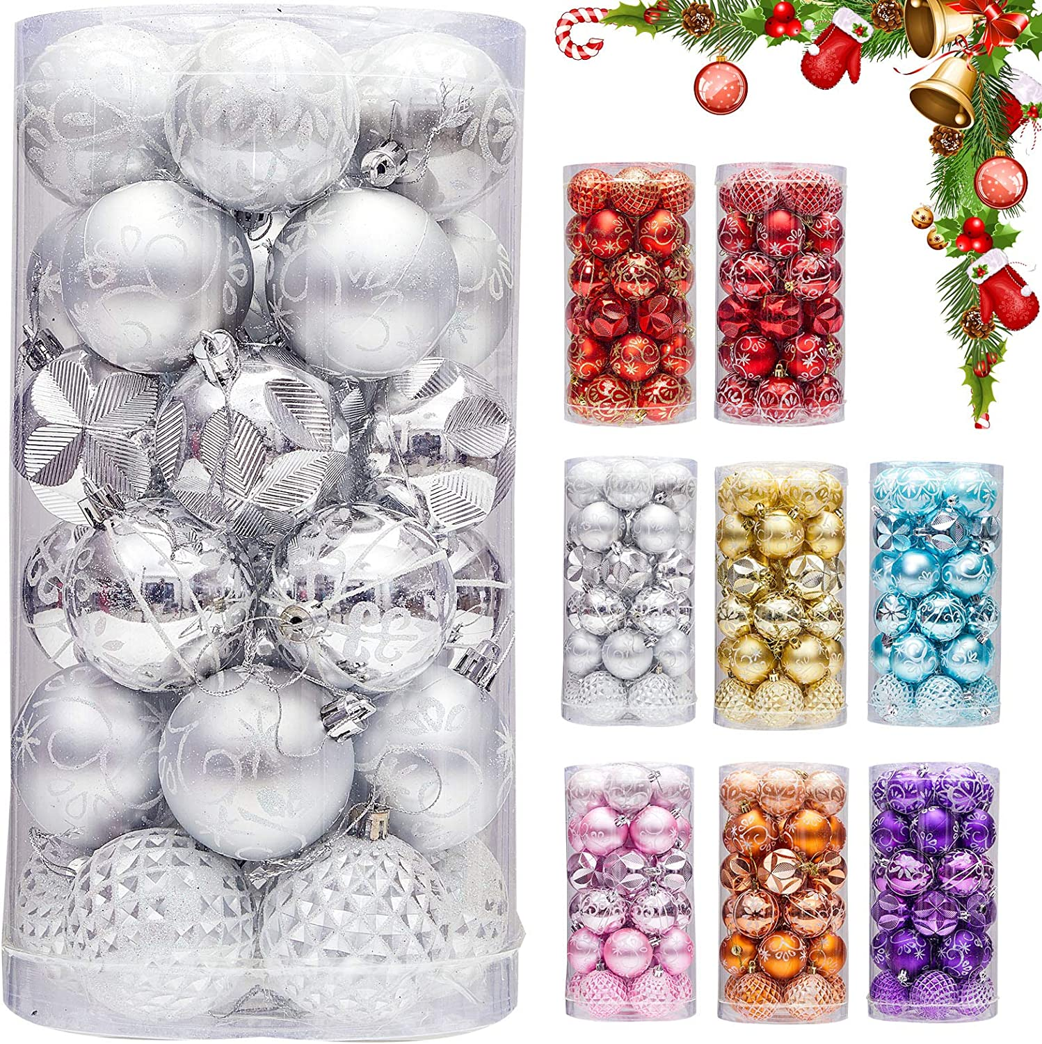 "30ct 2.36"" Christmas Ball Ornaments, Christmas Tree Decoration, Plastic Shatterproof Hanging Ball, Fits for Party, Holiday and Home Decor, Silver"