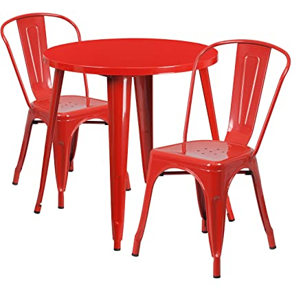 Amazoncom Flash Furniture Round Red Metal IndoorOutdoor - Metal cafe table and chairs
