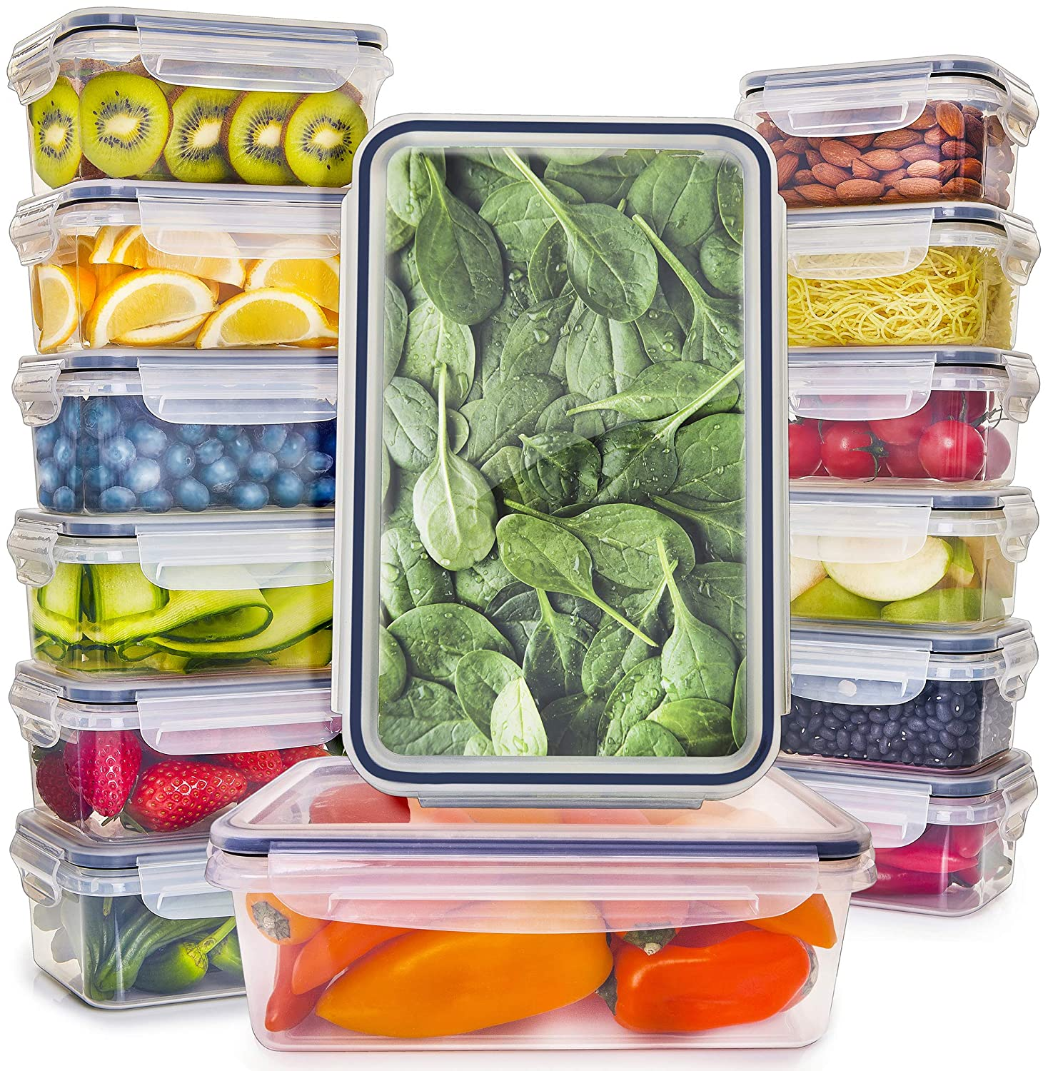 Food Storage Containers with Lids - Plastic Food Containers with Lids - Plastic Containers with Lids BPA Free - Leftover Food Containers - Airtight Leak Proof Easy Snap Lock Food Container [14-Pack]