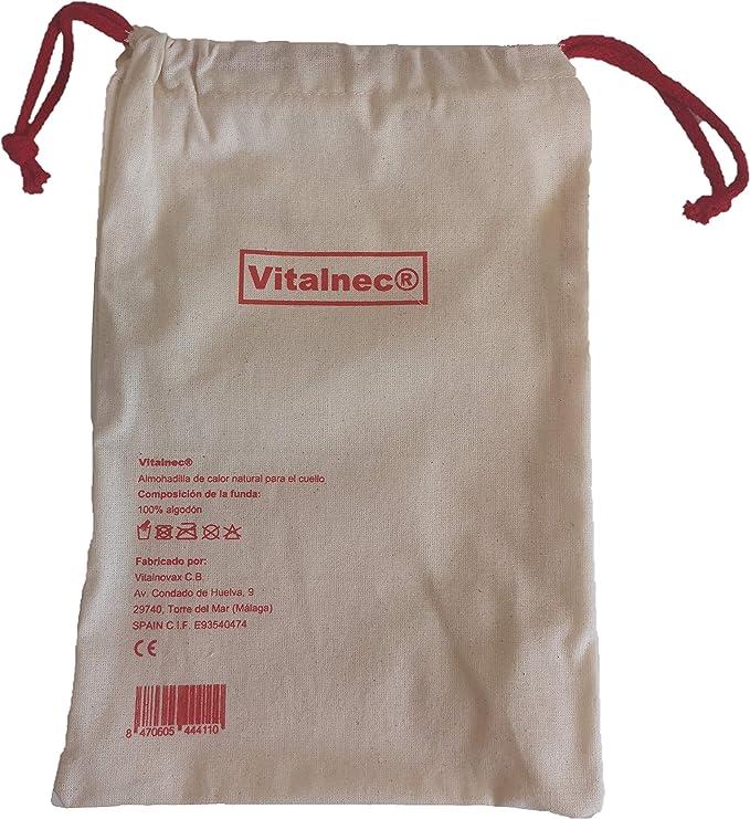 Vit Saco térmico de semillas cervical para microondas. Cojín cervical semillas. LA ÚNICA ALMOHADILLA QUE NO PESA.