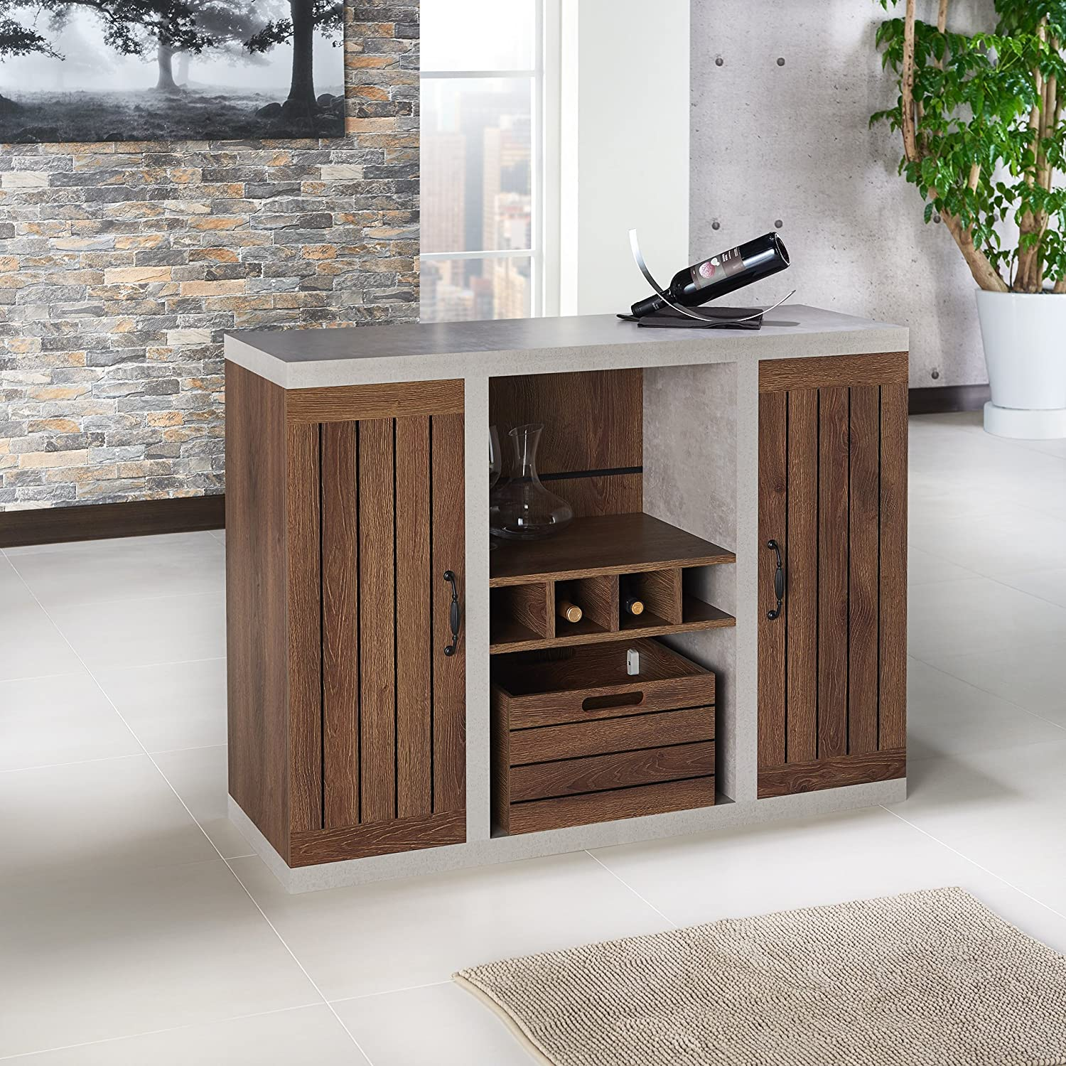 Slatted Drawer and Cabinets Distressed Walnut and Cement Wine Bottle Holder ioHOMES Cato Industrial Two-Tone Buffet with Open Shelf