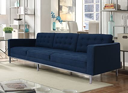 Iconic Home Draper Modern Blue Linen Tufted Square Arm Sofa With Straight  Silvertone Legs