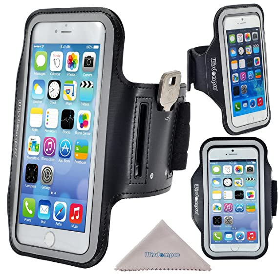 classic fit d271b 86d13 iPhone 6 Plus Armband for Running Exercise, iPhone 6s Plus Sport Armband  Case, Wisdompro Reflective Workout Armband with Key Holder, Also fits  Samsung ...