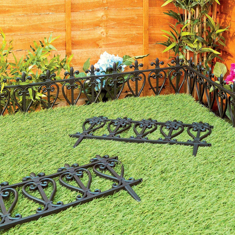Victorian style black fencing garden edging ornate fence border victorian style black fencing garden edging ornate fence border for lawn flowerbed amazon garden outdoors baanklon Choice Image