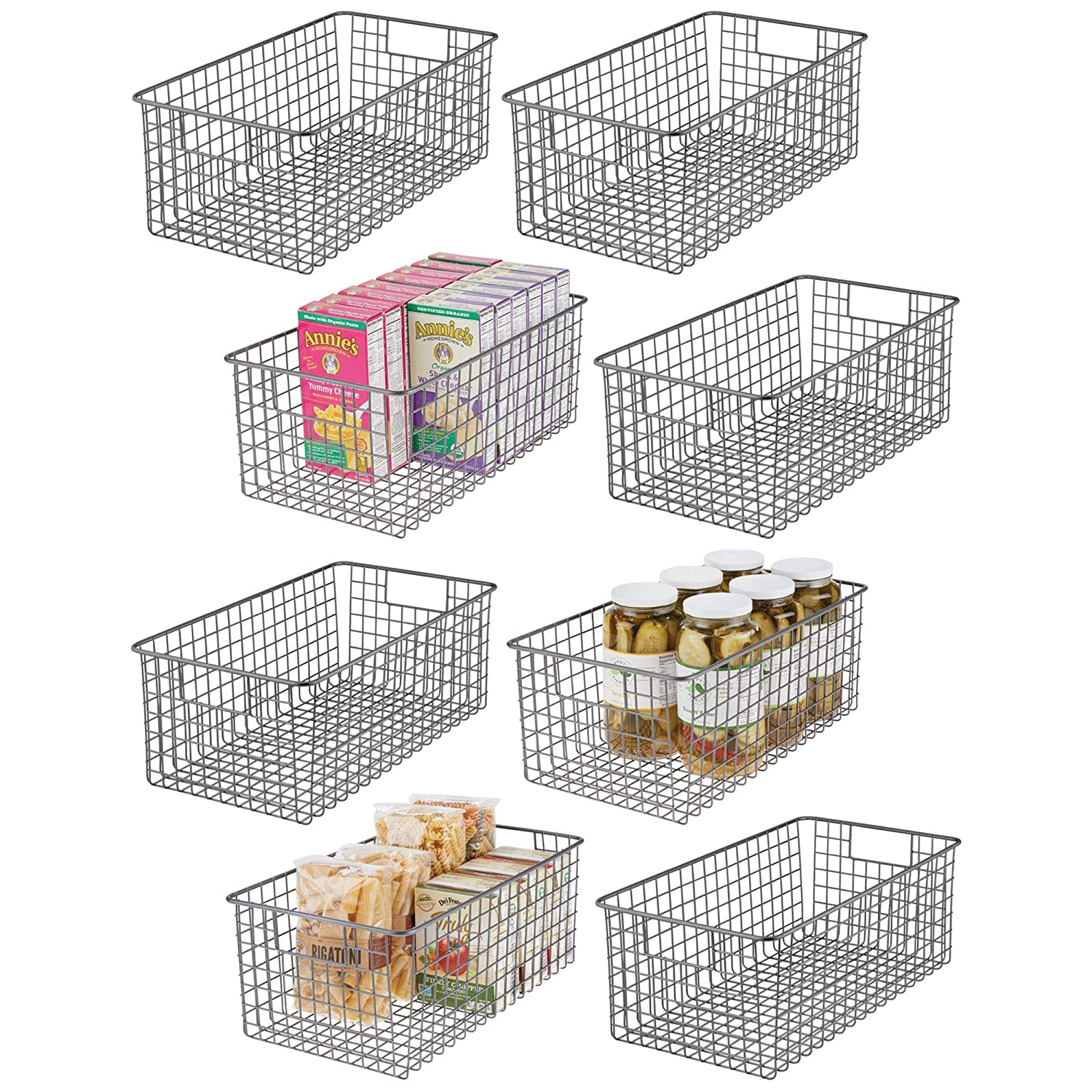 mDesign Farmhouse Decor Metal Wire Food Organizer Storage Bin Basket with Handles for Kitchen Cabinets, Pantry, Bathroom, Laundry Room, Closets, Garage - 16 x 9 x 6 in. - 8 Pack - Graphite Gray