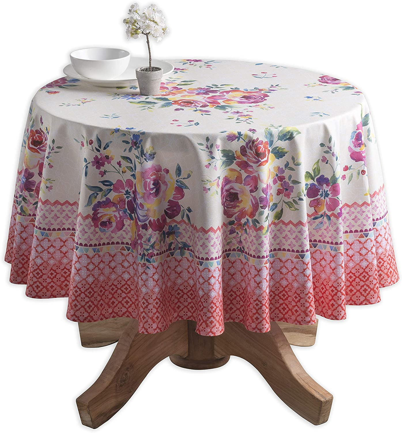 100% Cotton Round Tablecloth 63 Inch Diameter for Kitchen | Home | Dining Room | Tabletop | Decorative Patio | Parties | Weddings | Outdoor | Spring/Summer Collection-(Rose Garden)