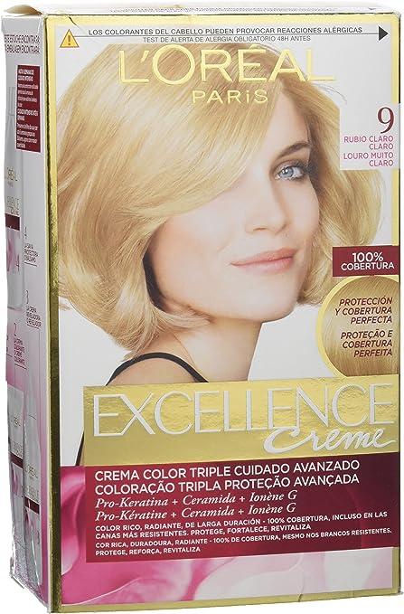 EXCELLENCE tinte Rubio Claro Nº 9 caja 1 ud: Amazon.es: Belleza