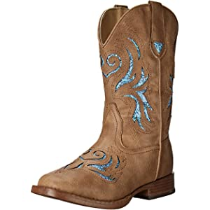 5be1048f079 Amazon.com | Roper Square Toe Glitter Floral Western Boot (Toddler ...