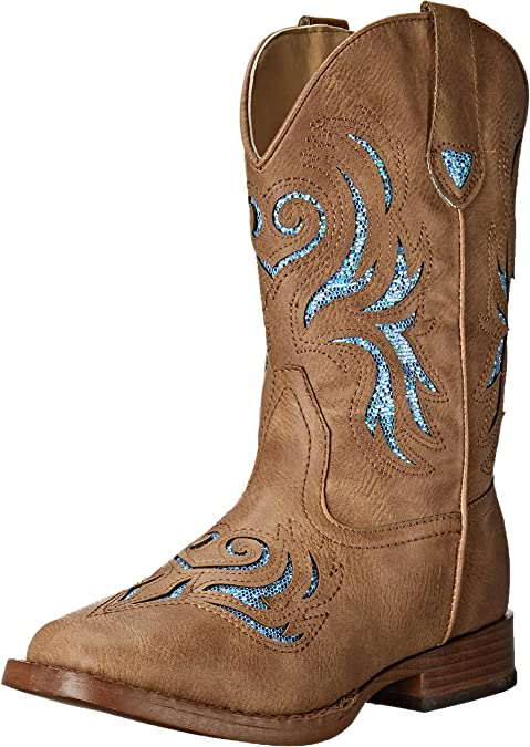 ROPER Kids Glitter Breeze Square Toe Boots 13