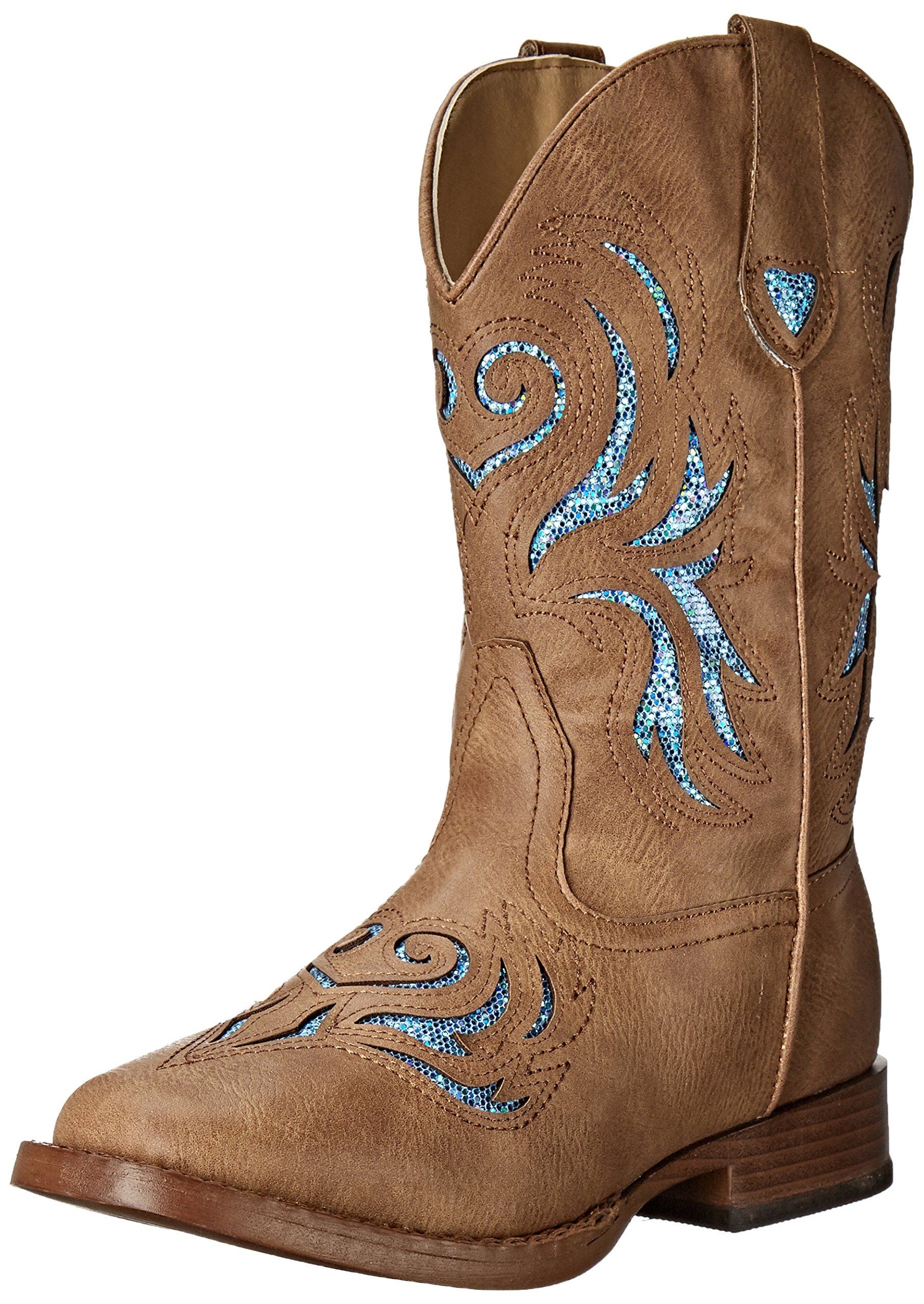 ROPER Girls' Glitter Breeze Western Boot, Tan, 3 M US Little Kid by ROPER