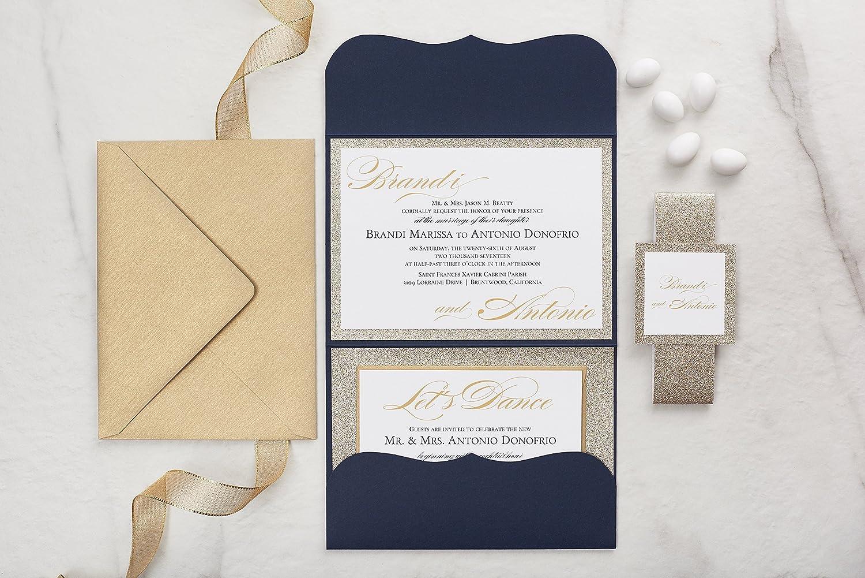 Amazon.com: Custom Elegant Wedding Invitations Set in Pocketfold ...