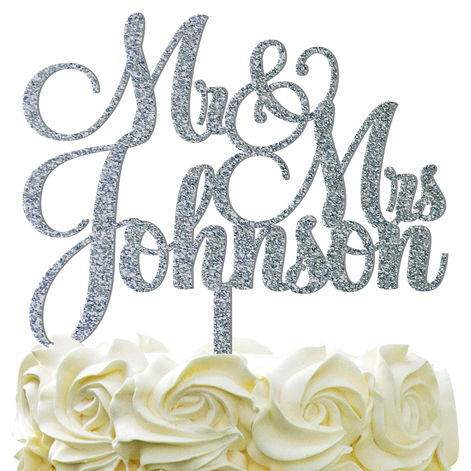 Gold or Silver Wedding Cake Topper with Couple/'s Names Elegant Print Font Wedding Mirror Acrylic Cake Topper