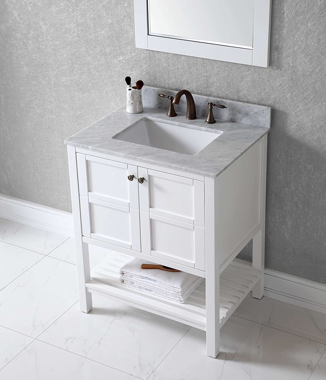 Virtu ES-30030-WMSQ-WH Winterfell Single Bathroom Vanity Cabinet Set ...