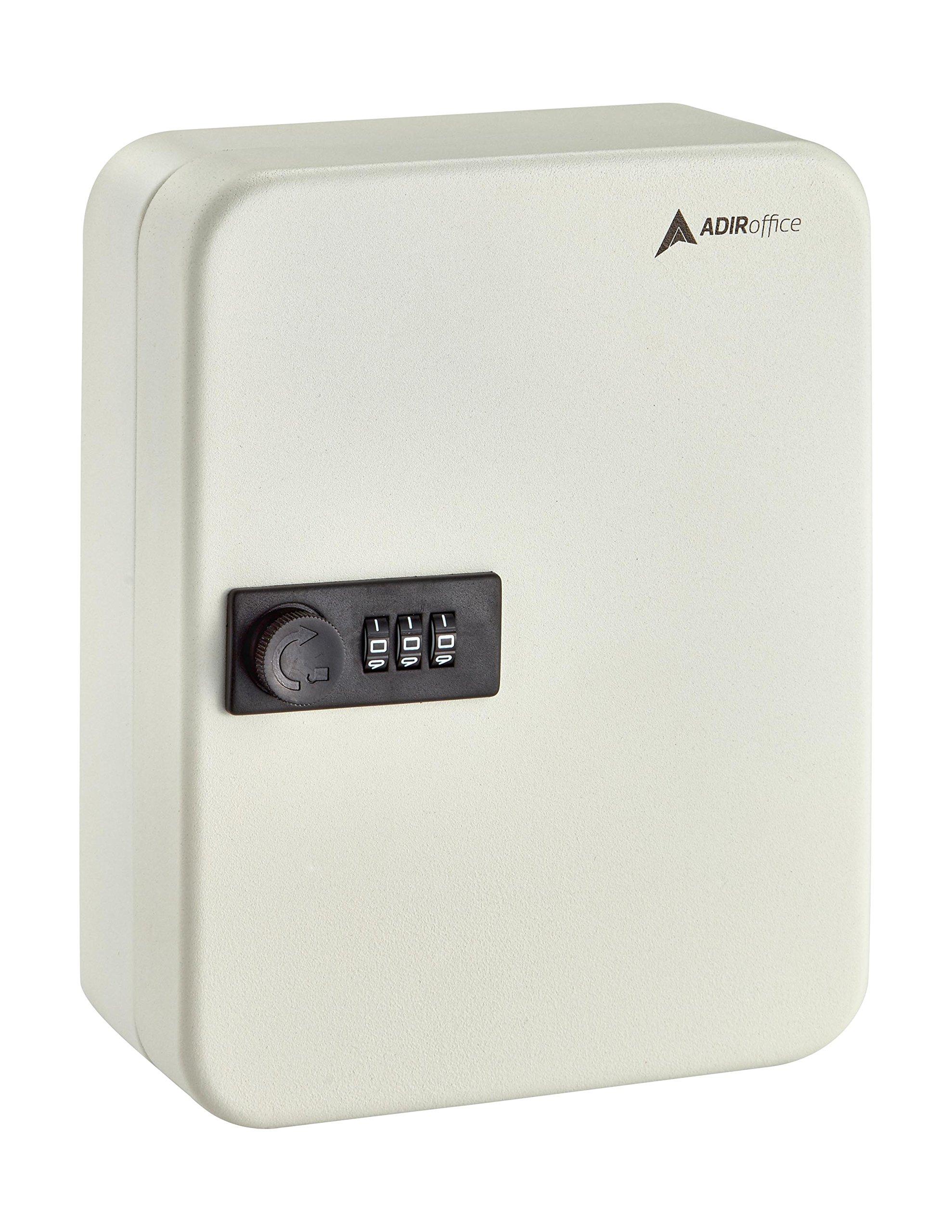 AdirOffice Key Steel Security Cabinet Box, 30 Keys, Combination Lock - White