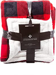Outrageously Soft 50-by-60-inch Reversible Velvet Berber Throw, Buffalo Plaid
