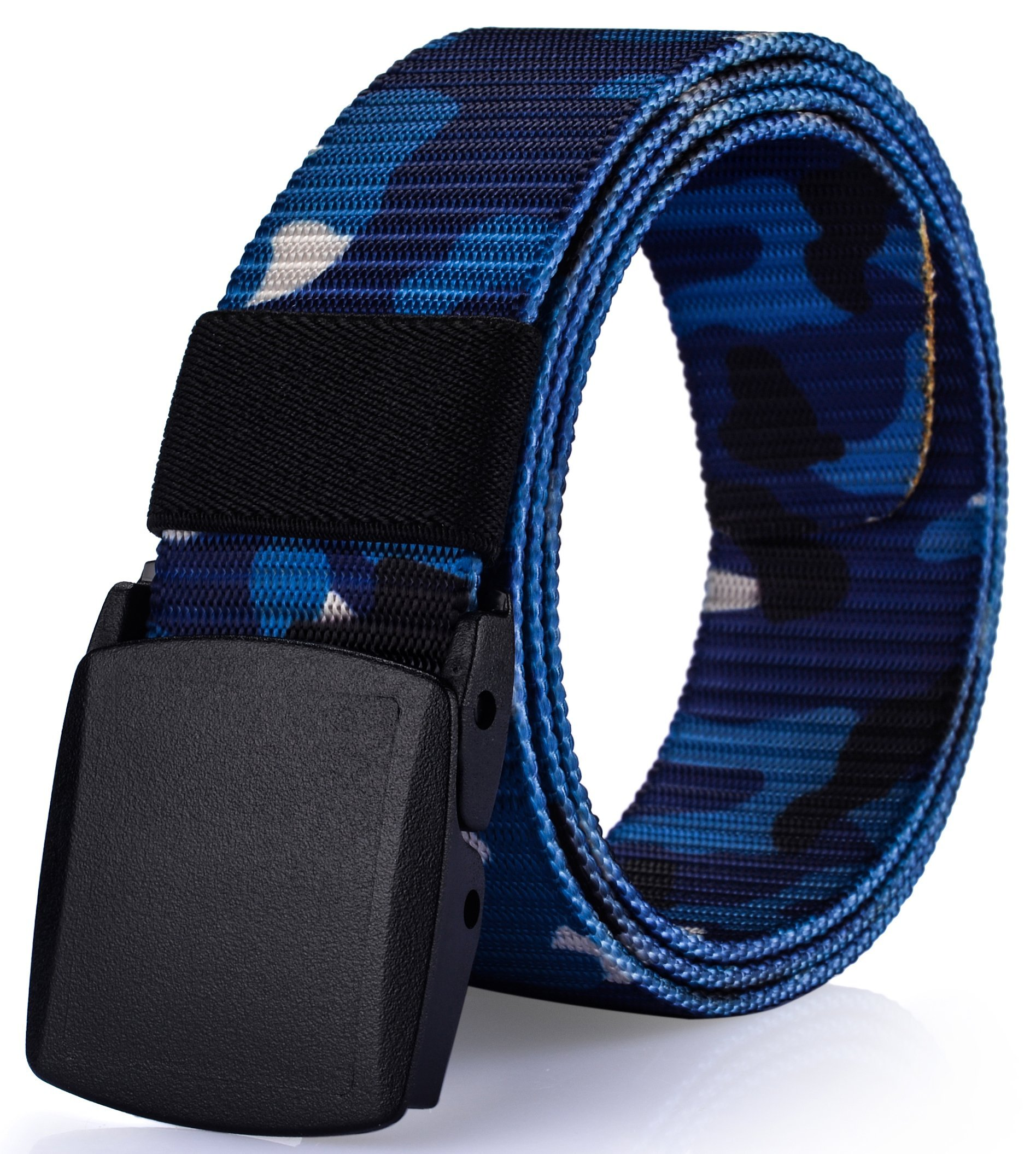 Ayli Men's Nylon Webbed Belt, No Metal Parts, Plastic Buckle, Quick Security Clearance, Casual Dress Belt, Style 6 Camouflage Blue - bt6a011bl