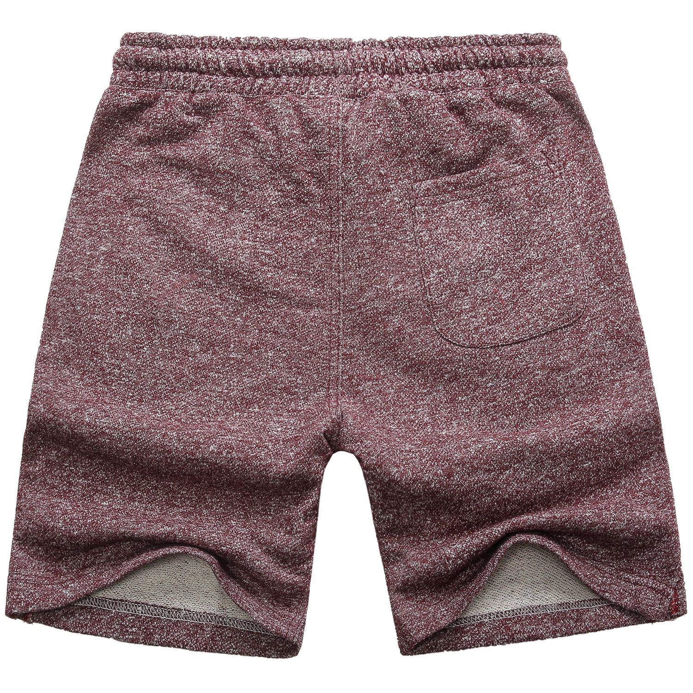 Manwan walk Men's Casual Classic Fit Cotton Elastic Jogger Gym Drawstring Knit Shorts (Medium, Red) by Manwan walk (Image #2)