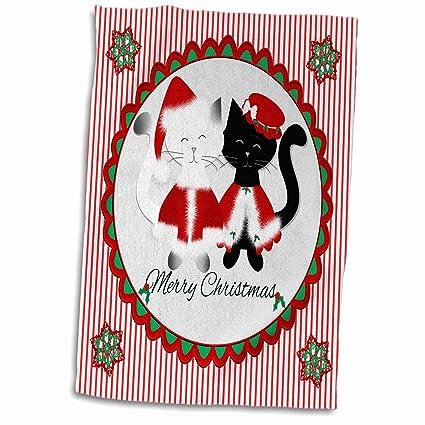 3dRose - Toalla de Navidad con diseño de Papá Noel y Gatos Negros, Color Blanco