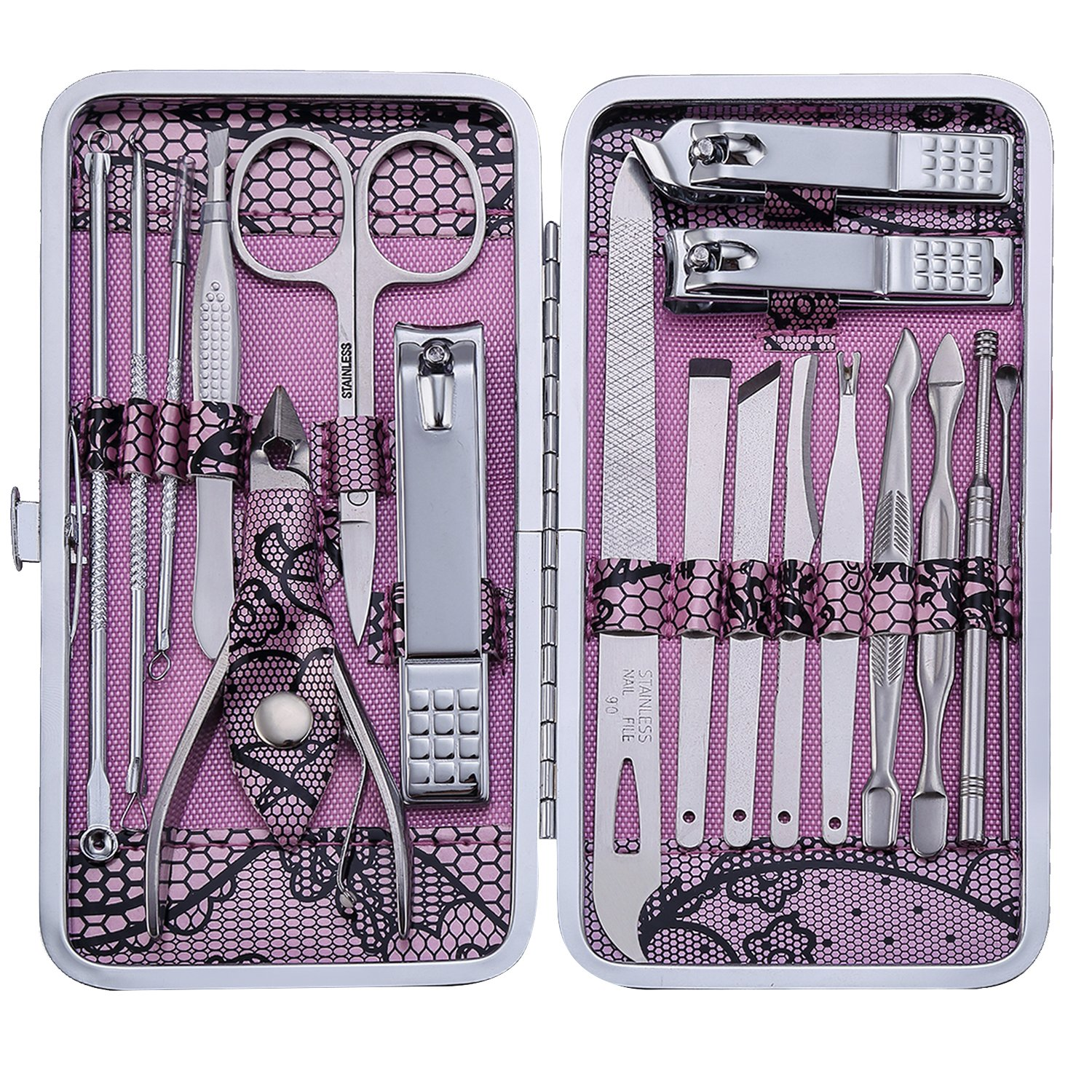 Manicure Set Nail Clippers 18 Piece Stainless Steel Nail Kit, Professional Grooming Kit, Pedicure Tools with Travel Case (Pink)
