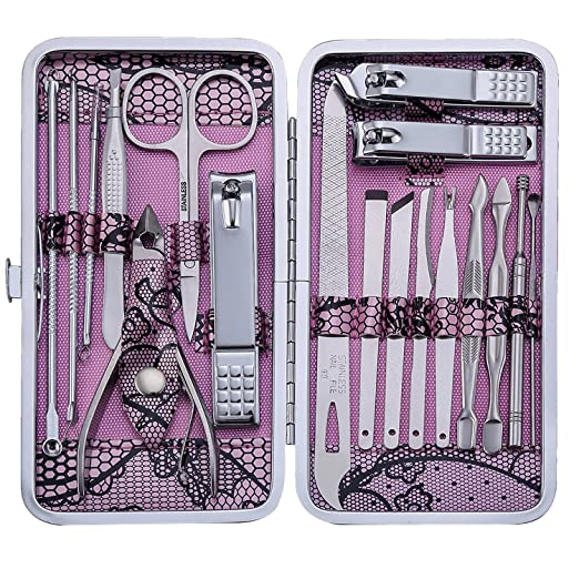 Manicure Set Nail Clippers 18 Piece Stainless Steel Nail Kit, Professional Grooming Kit, Pedicure Tools...