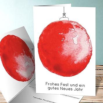 Weihnachtskarten Einladung.Weihnachtskarten Einladung Weihnachtskugel Aquarell 15 Karten