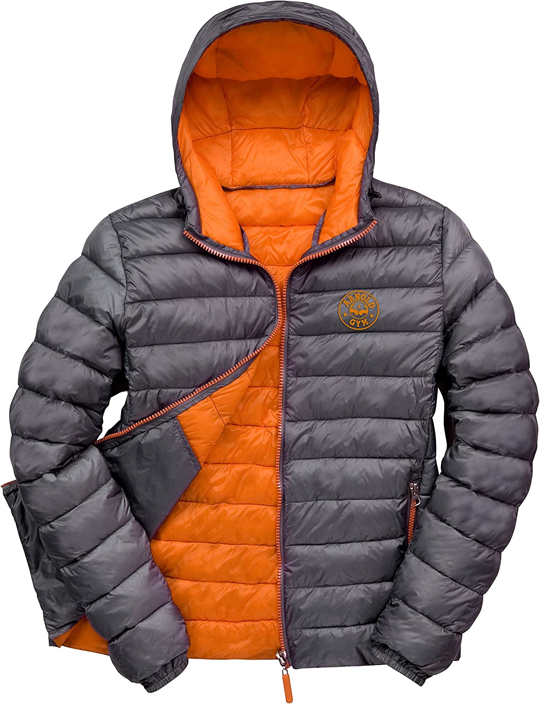 Arnold Gym Mens Sports Padded Puffer Hooded Black//Orange Jacket