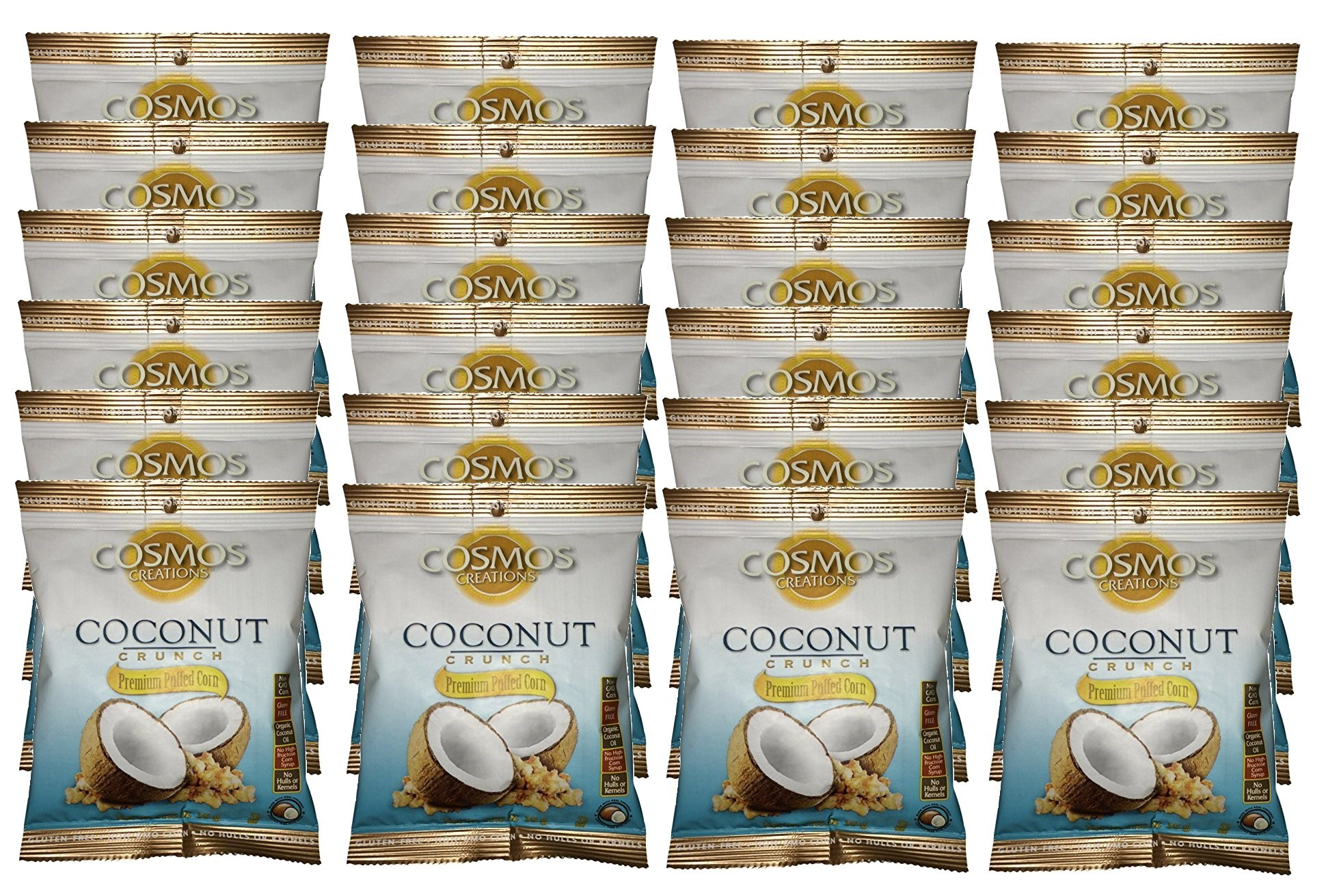 Premium Puffed Corn Snacks - Coconut Crunch Popcorn - 1.25 oz Each - 24 Bags Value Pack